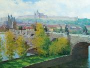 Stanislav Feikl View of Prague Castle over the Charles Bridge by Czech painter Stanislav Feikl china oil painting reproduction