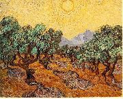 Vincent Van Gogh Olive Trees with Yellow Sky and Sun oil painting picture wholesale