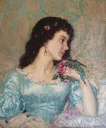 Weerts Jean Joseph Beautiful pensive portrait of a young woman with a bird and flower china oil painting reproduction