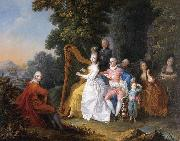 unknow artist An elegant party in the countryside with a lady playing the harp and a gentleman playing the guitar china oil painting reproduction