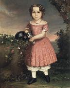 unknow artist Portrait of a Child Holding a Cat china oil painting reproduction