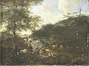 Adam Pijnacker Landscape with cattle oil