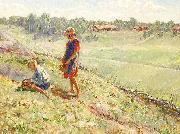 Alf Wallander Berry Picking Children a Summer Day oil