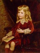 Alfred Edward Emslie Portrait of a young boy in a red velvet suit oil