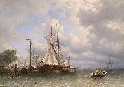 Antonie Waldorp Sailing ships in the harbor oil