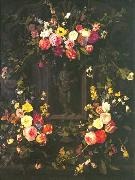 Jan Philip van Thielen Garland of flowers surrounding Christ figure in grisaille oil painting picture wholesale
