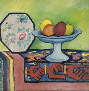 August Macke Still-life with bowl of apples and japanese fan oil painting picture wholesale