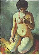August Macke Female nude with coral necklace oil painting picture wholesale