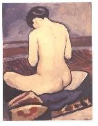 August Macke Seated female with a pillow oil painting picture wholesale