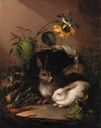 Carl Johann Lasch Two rabbits in an upturned basket with a blue tit on a sunflower oil painting picture wholesale