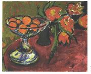 Ernst Ludwig Kirchner Stil live with tulips and oranges oil painting picture wholesale