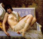 Guillaume Seignac Young-woman-on-a-settee oil painting picture wholesale