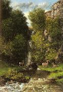 Gustave Courbet A Family of Deer in a Landscape with a Waterfall oil painting picture wholesale