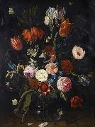 Jan Van Kessel the Younger A still life of tulips, a crown imperial, snowdrops, lilies, irises, roses and other flowers in a glass vase with a lizard, butterflies, a dragonfly a oil painting picture wholesale