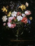 Juan de Arellano Clematis, a Tulip and other flowers in a Glass Vase on a wooden Ledge with a Butterfly oil painting picture wholesale