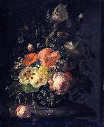 Rachel Ruysch Still life with flowers on a marble table top oil painting picture wholesale