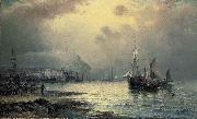 William J.Glackens Fishing vessels off Scarborough at dusk oil painting picture wholesale