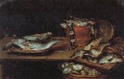 Alexander Adriaenssen Still Life with Fish,Oysters,and a Cat oil