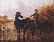 John Frederick Herring Watering The Horses and Farmyard Companions:a Pair of Paintings china oil painting reproduction