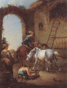 unknow artist Horsemen saddling their horses china oil painting reproduction