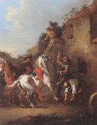 unknow artist Cavaliers halted at a farrier china oil painting reproduction