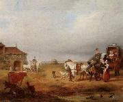 unknow artist An open landscape with a horse and carriage halted beside a pond,with anmals and innnearby china oil painting reproduction