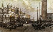 Luigi Querena The People of Venice Raise the Tricolor in Saint Mark's Square china oil painting reproduction