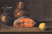 Luis Melendez Still Life with Salmon, a Lemon and Three Vessels china oil painting reproduction