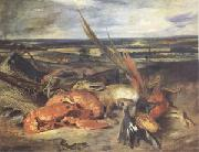 Eugene Delacroix Still Life with a Lobster and Trophies of Hunting and Fishing (mk05) china oil painting reproduction