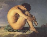 Hippolyte Flandrin Young Man Beside the Sea A study (mk05) china oil painting reproduction