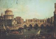 Canaletto Capriccio con un ponte di Rialto immaginario e altri edifici (mk21) china oil painting reproduction