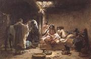 Frederick Arthur Bridgman Interior of an Algerian House,Biskra (mk32) china oil painting reproduction