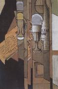 Juan Gris Glasses Newspaper and a Bottle of Wine (nn03) oil