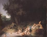 REMBRANDT Harmenszoon van Rijn Diana bathing with her Nymphs,with the Stories of Actaeon and Callisto (mk33) china oil painting reproduction