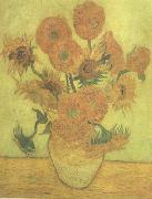 Vincent Van Gogh Still life Vase with Fourteen Sunflowers (nn04) china oil painting reproduction