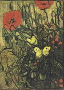 Vincent Van Gogh Poppies and Butterflies (nn04) china oil painting reproduction