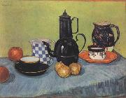 Vincent Van Gogh Still life Blue Enamel Coffeepot Earthenware and Fruit (nn04) china oil painting reproduction