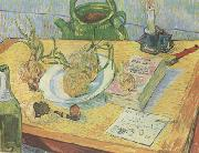Vincent Van Gogh Still life:Drawing Board,Pipe,Onions and Sealing-Wax (nn04) china oil painting reproduction