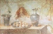 unknow artist Still life wall Painting from the House of Julia Felix Pompeii thrusches eggs and domestic utensils china oil painting reproduction