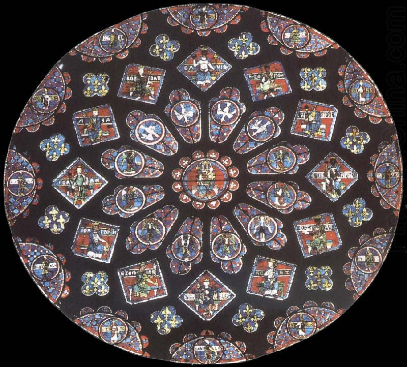 Rose window, northern transept, cathedral of Chartres, France, Jean Fouquet
