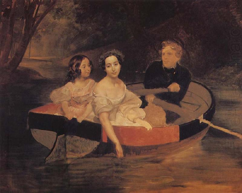 Portrait of the Artist with Baroness Yekaterina Meller-akomelskaya and her Daughter in a Boat, Karl Briullov