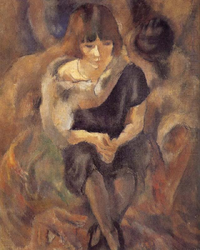 Lucy wearing fur shawl, Jules Pascin