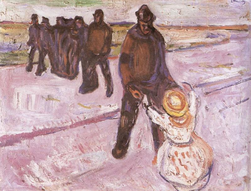 Worker and children, Edvard Munch