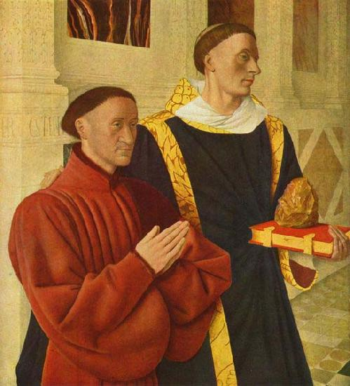 left wing of Melun diptych depicts Etienne Chevalier with his patron saint St. Stephen, Jean Fouquet