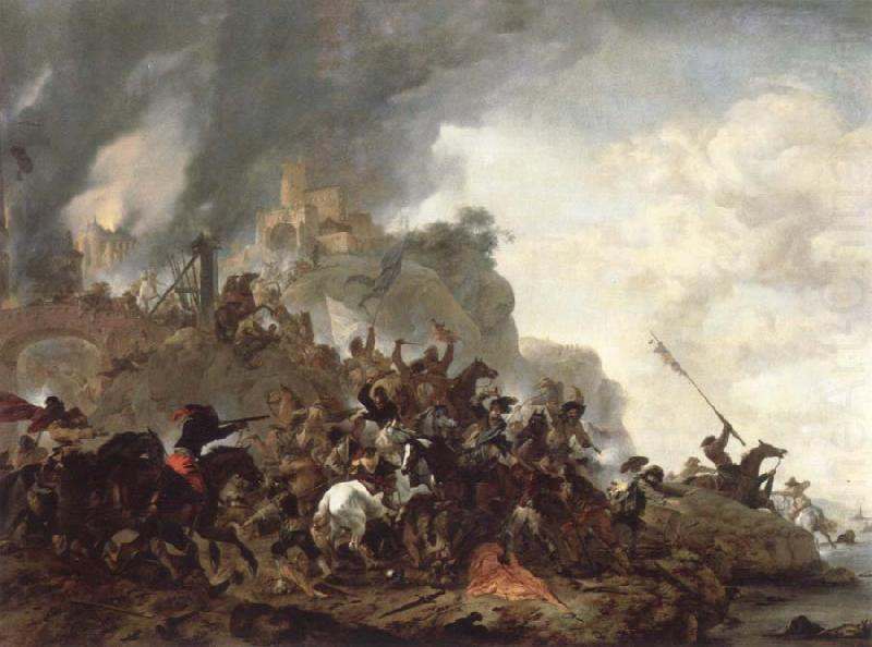 cavalry making a sortie from a fort on a hill, Philips Wouwerman