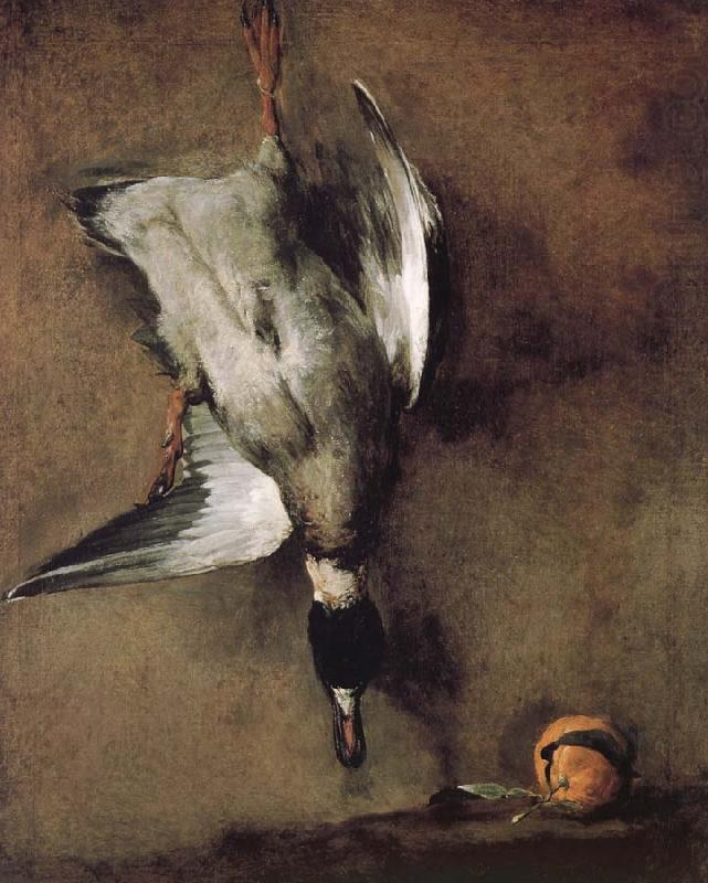 Wild ducks hanging on the wall, and the Orange, Jean Baptiste Simeon Chardin