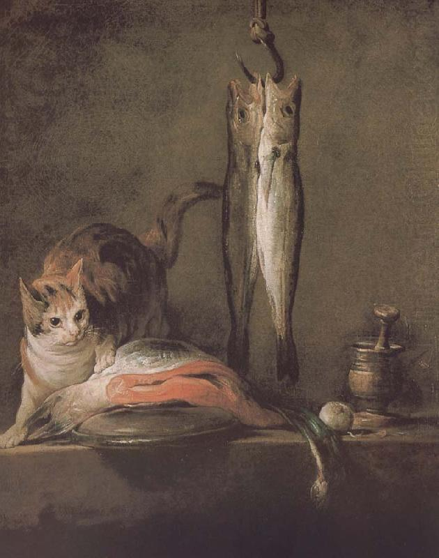 Two cats salmon mackerel, Jean Baptiste Simeon Chardin