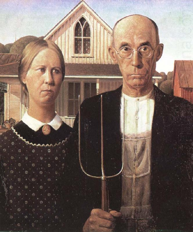 grant woods malning american gothic, unknow artist