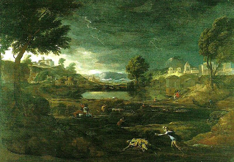 landscape with pyramus and thisbe, Nicolas Poussin