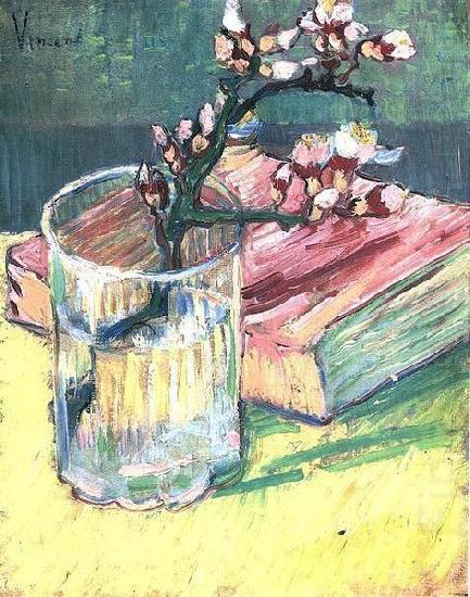 Blossoming Almond Branch in a Glass with a Book, Vincent Van Gogh